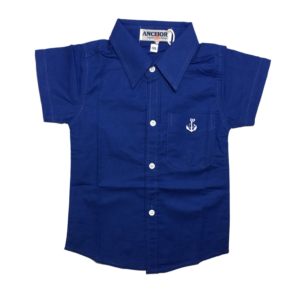 Navy Blue Button Down Short Sleeve Shirt