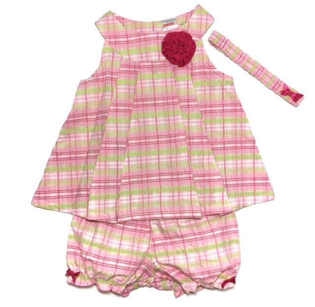 Pink Checkered Bloomers Set with Headband