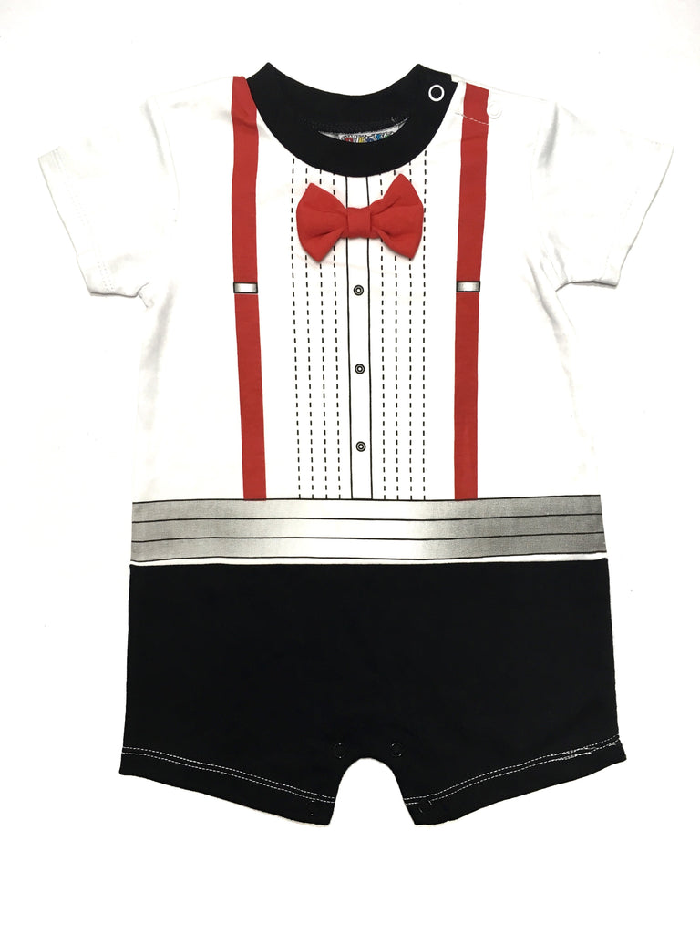 LITTLE GENTLEMEN - RED BOW TIE & SUSPENDERS