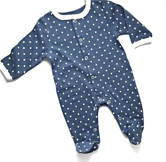 Polka Dotted Full Length Baby Romper