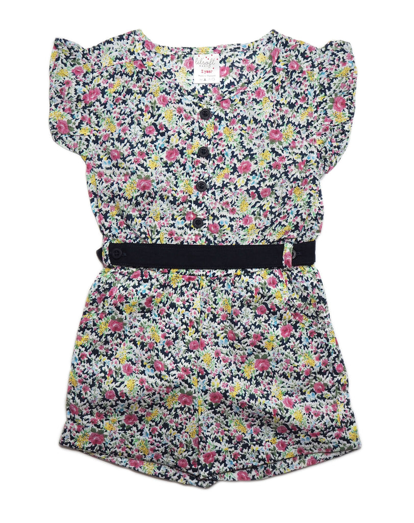 Romper Belt Set - Navy Blue Floral