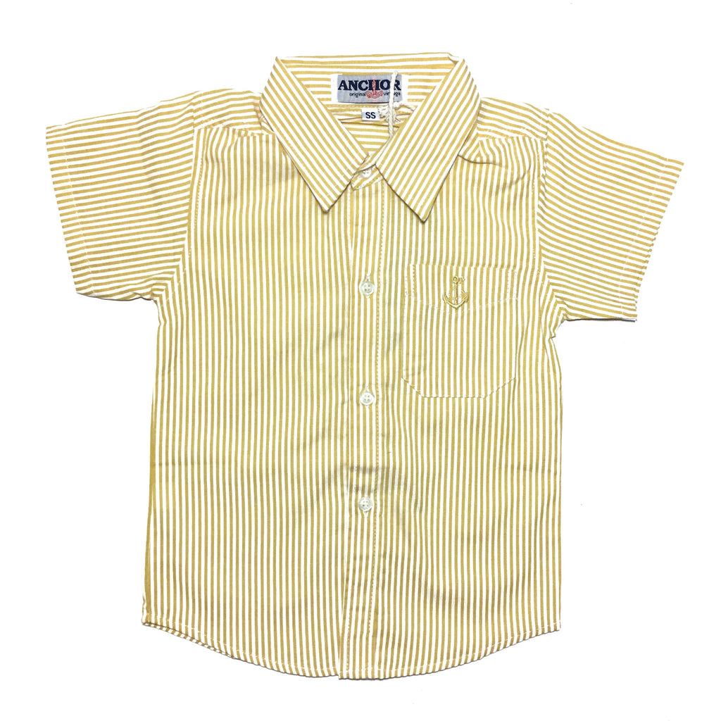 Yellow Striped Button Down Short Sleeved Shirt