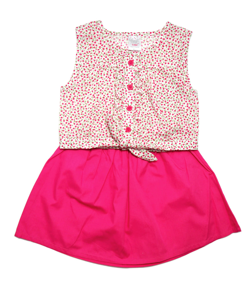 2 Piece Crop Top Set - Hot Pink Foral