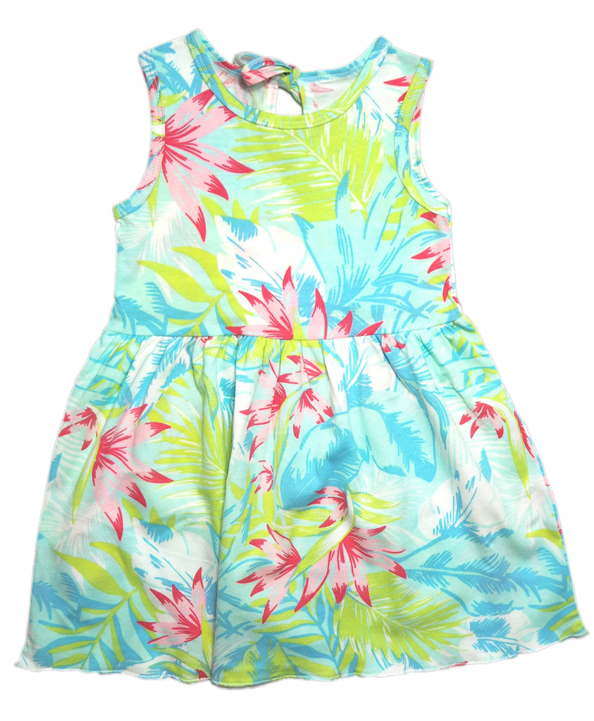 Tropical Splash Dress -  Light Blue