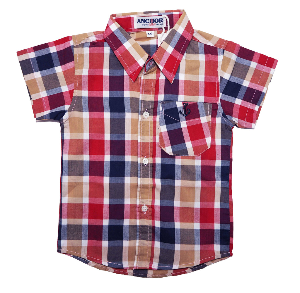 Checkered Button Down Short Sleeve Shirt