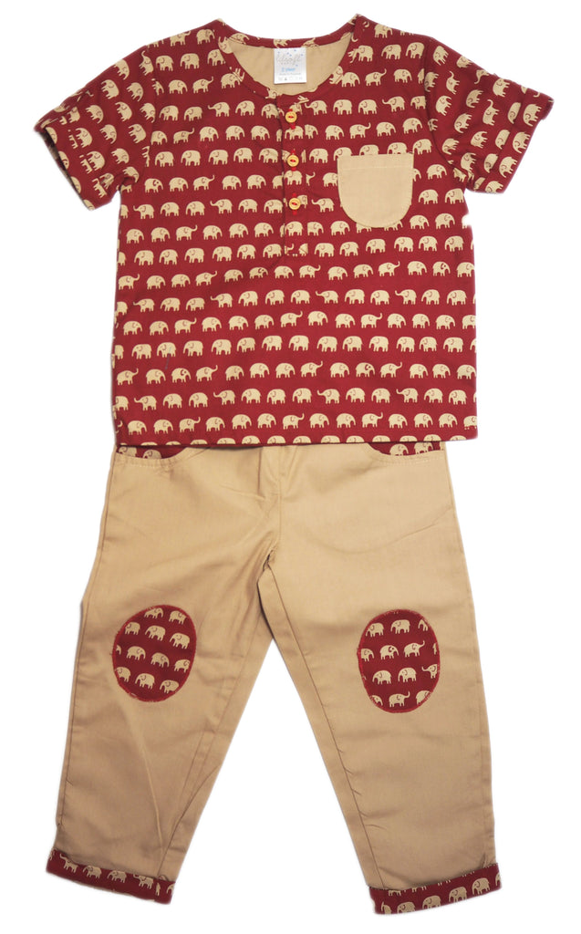 Cotton Shirt and Pants Set - Little Elephants
