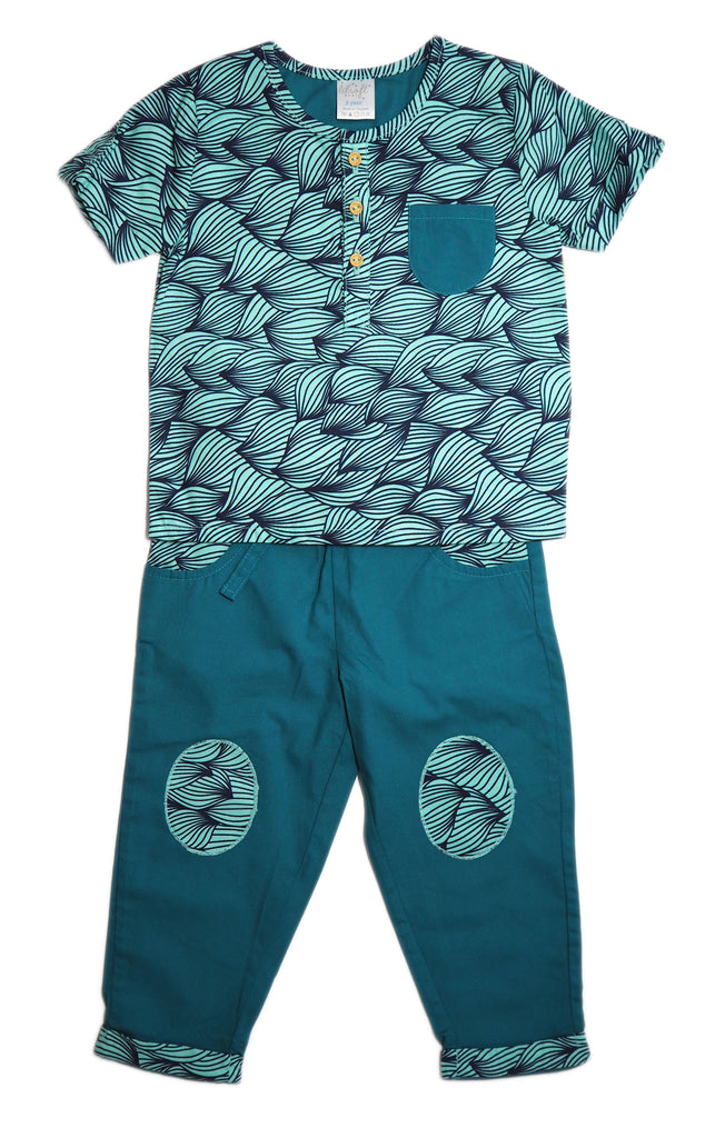 Cotton Shirt and Pants Set - Tropical Rainforest