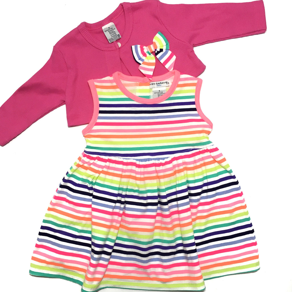 Pink and Rainbow Stripes Two Piece