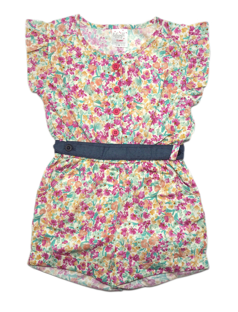 Romper Belt Set - Denim Floral