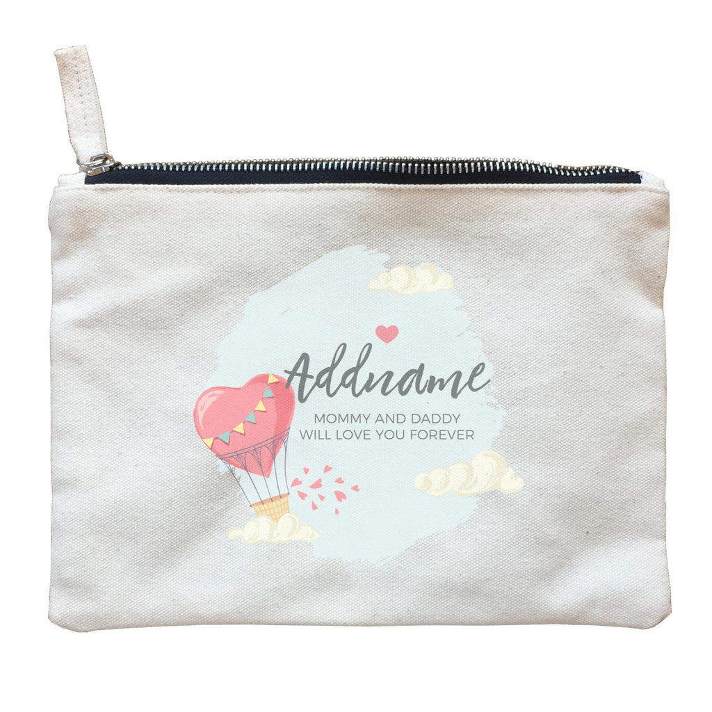 Heart Shaped Hot Air Balloon with Hearts and Clouds Zipper Pouch
