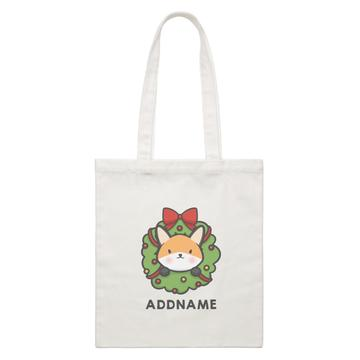 Cute Fox Flower Wreath Customizable Canvas Bag