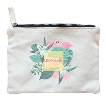 Tropical Leaves with Flamingos Zipper Pouch