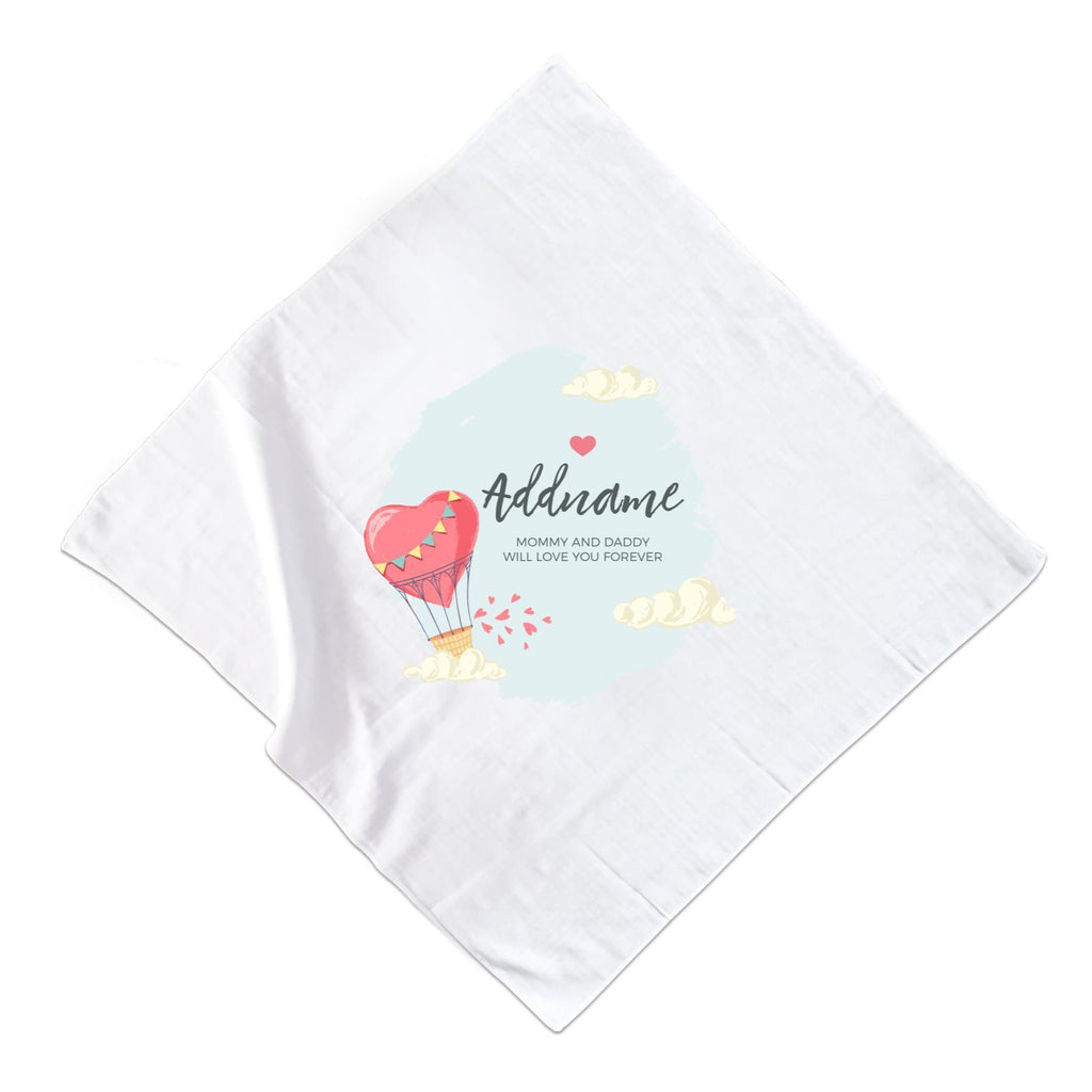Heart Shaped Hot Air Balloon with Hearts and Clouds Muslin Square