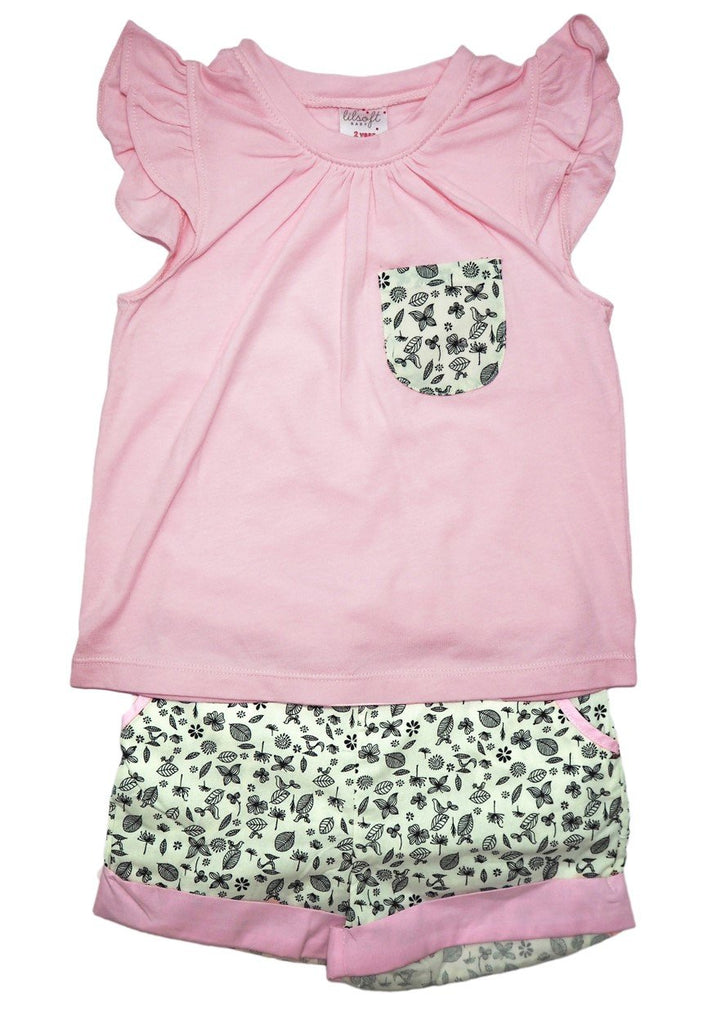 Cotton Tee and Shorts Set - Light Pink Floral