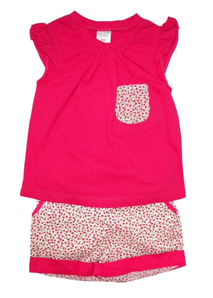 Cotton Tee and Shorts Set - Dark Pink Floral