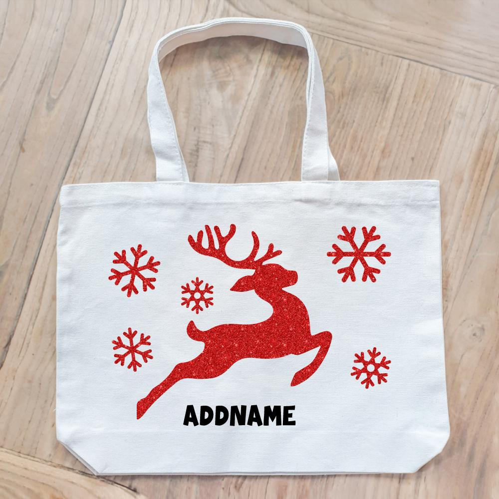 Christmas Reindeer Glitter Customizable Canvas Bag