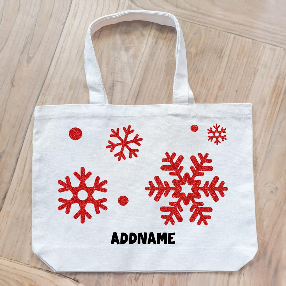 Christmas Snowflake Glitter Customizable Canvas Bag