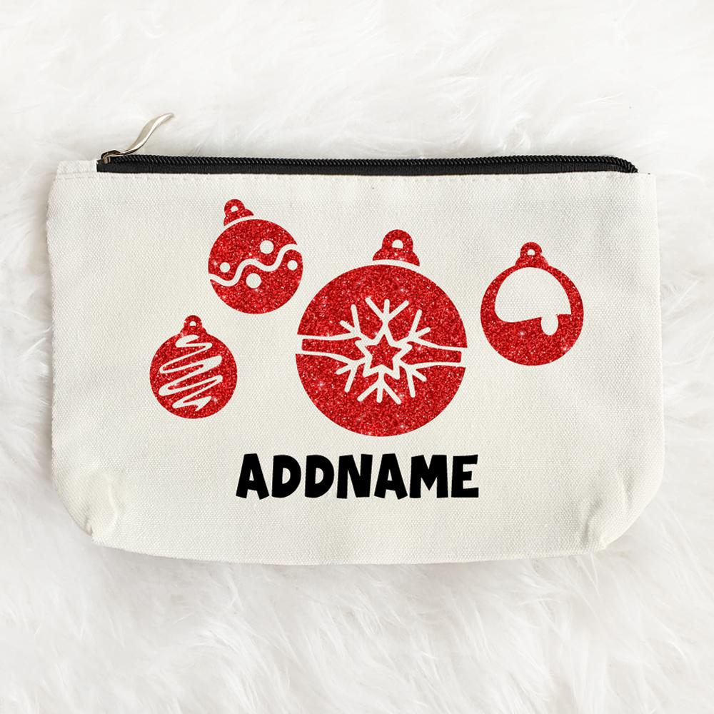 Christmas Ornament Glitter Customizable Zipper Pouch