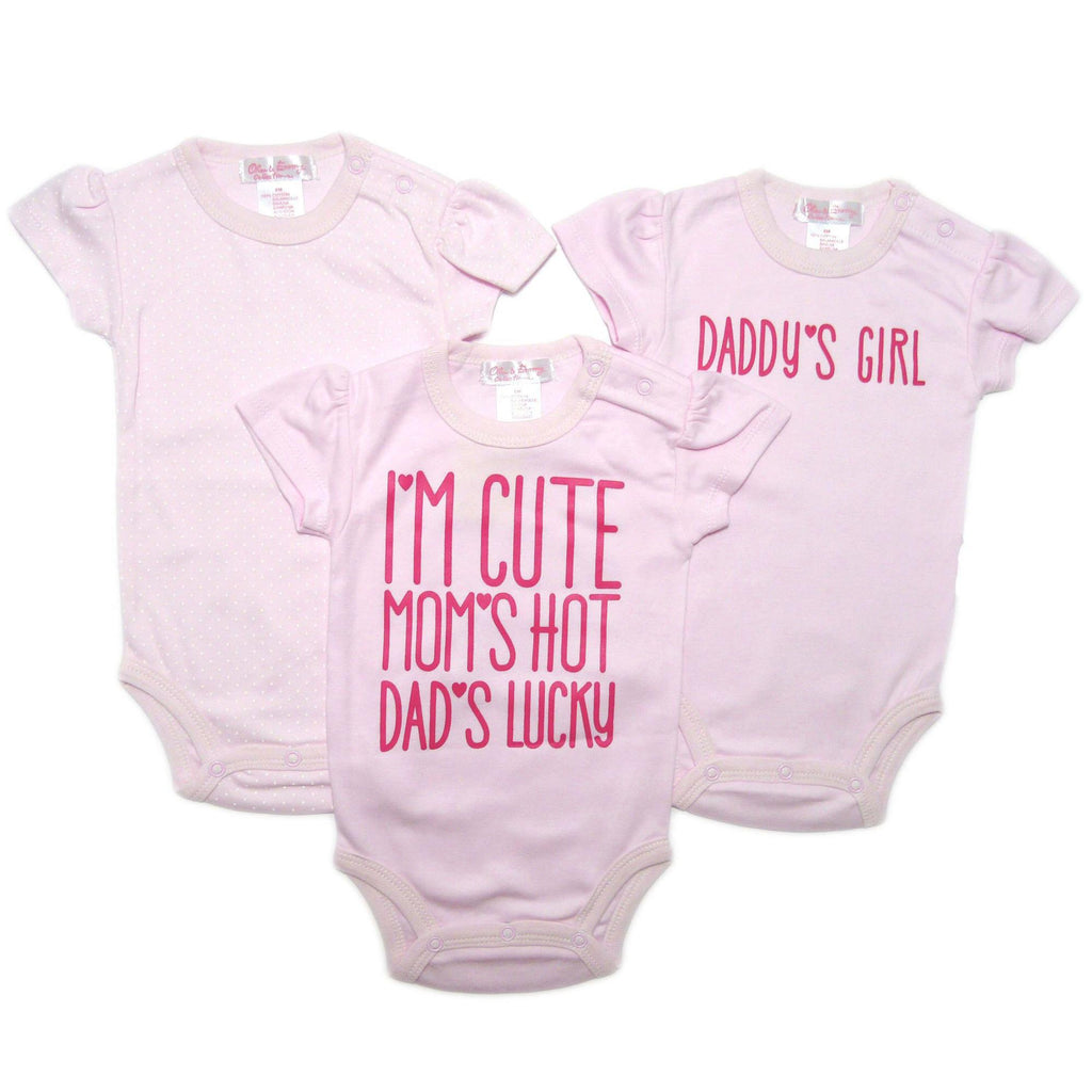 Baby Pink Rompers- 3 Piece Set