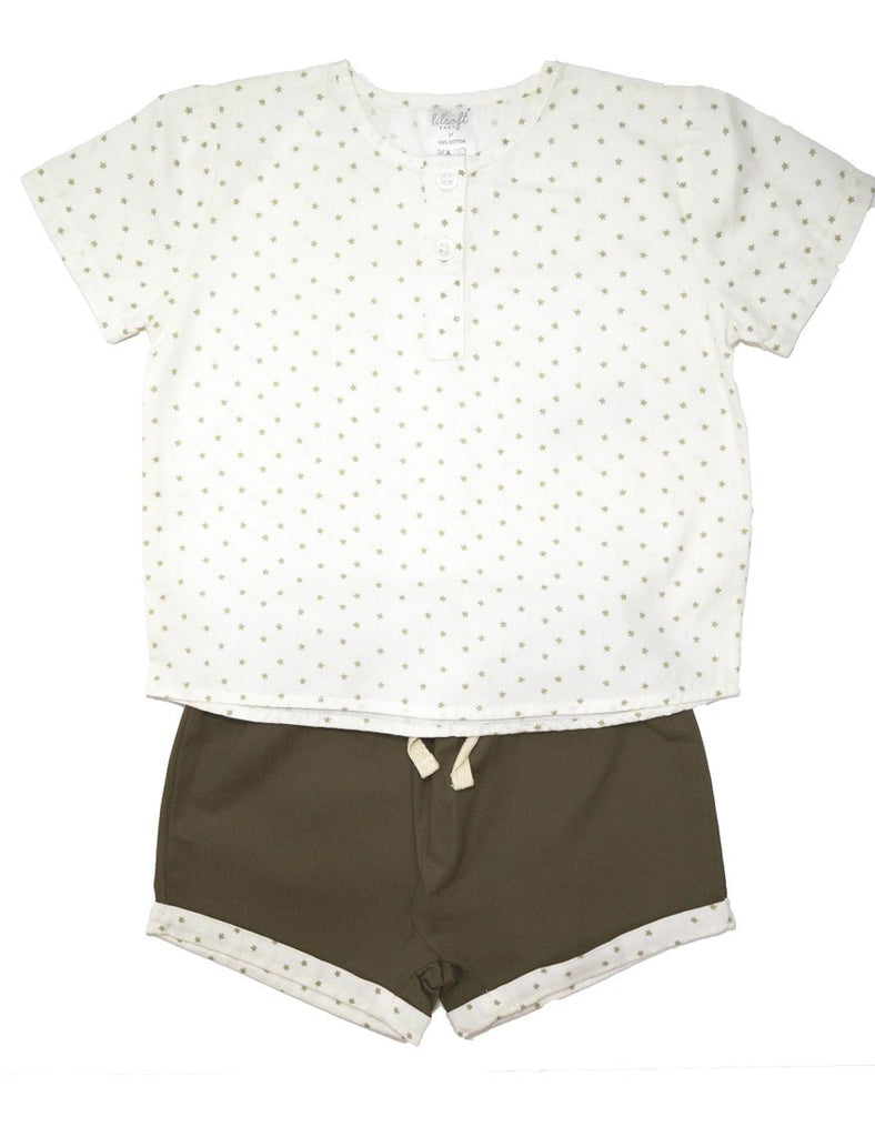 Cotton Shirt and Shorts Set - Khaki Stars