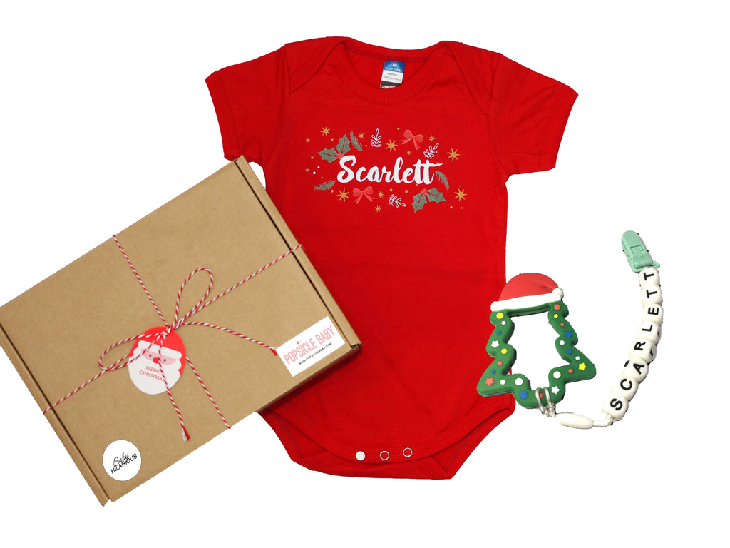 Customisable Romper and Teether Gift Box Set