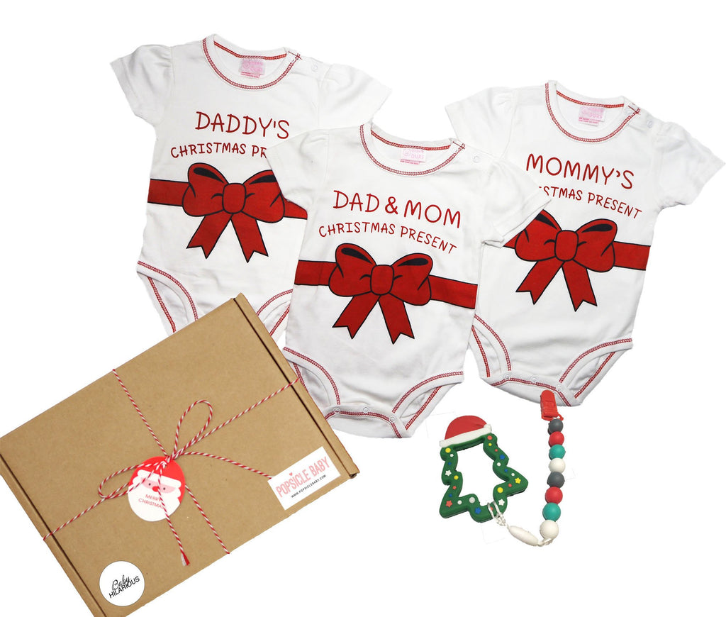 Christmas Present Rompers & Teether Gift Box Set