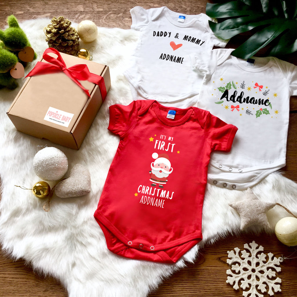 First Christmas Customizaed Santa Baby Romper Gift Box Set