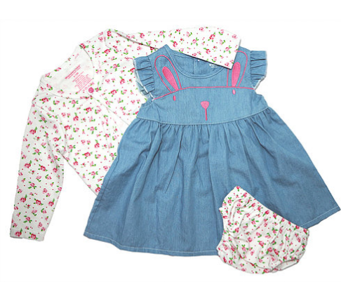 Denim Bunny Floral- 3 piece set