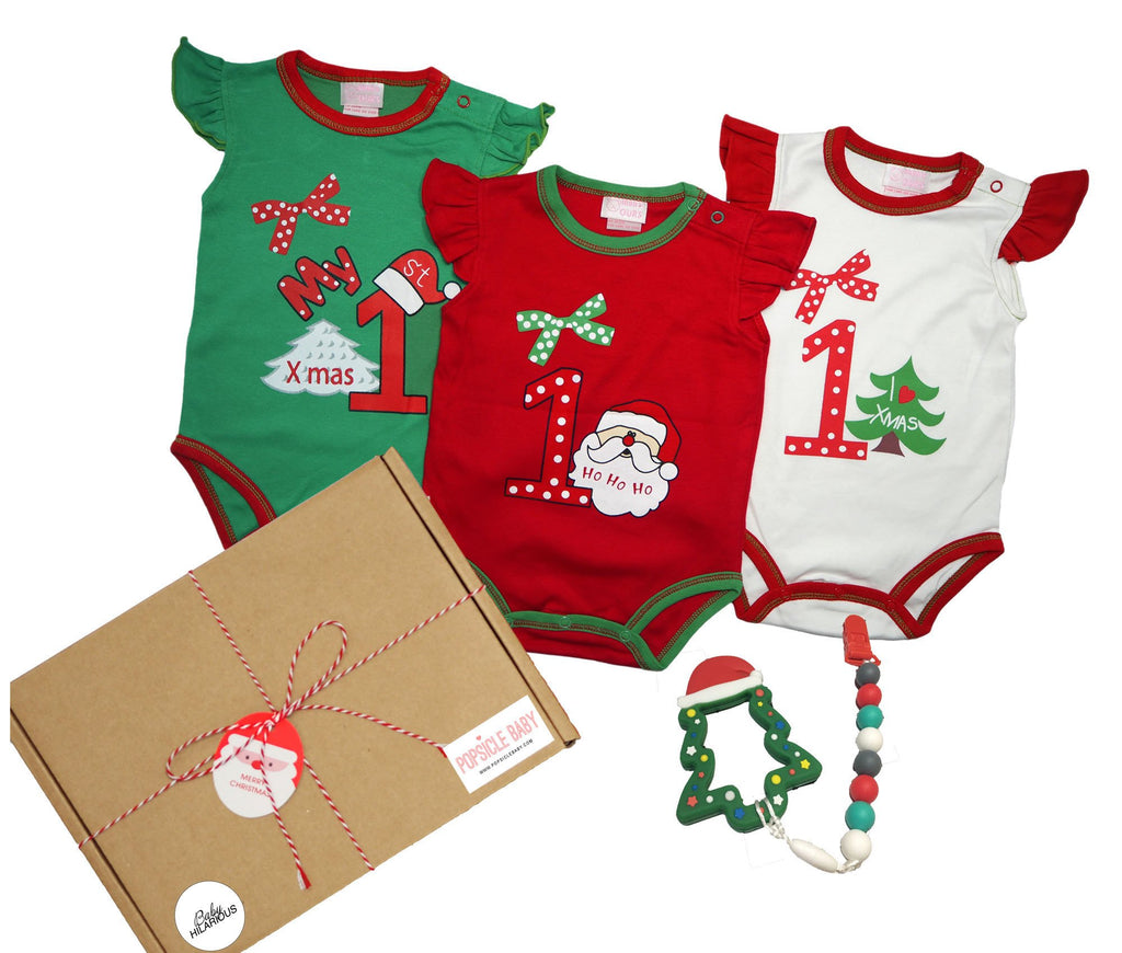 First Christmas Rompers & Teether Gift Box Set