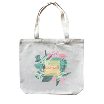 Tropical Leaves with Flamingo Canvas Bag