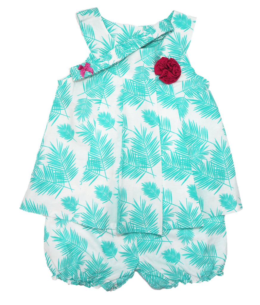 Tropical Leaves- 3 Piece Bloomers Set (with Headband)