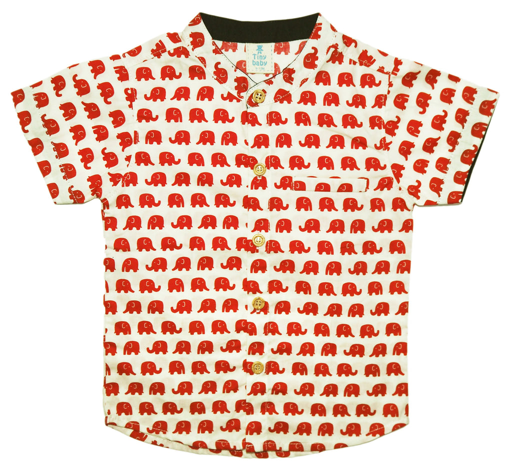 Little Elephants Mandarin Collar Shirt