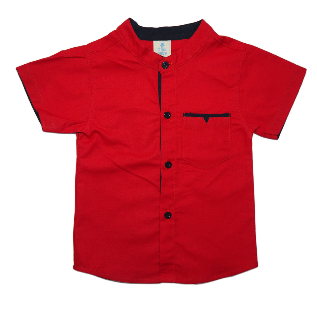 Red Mandarin Collar Shirt