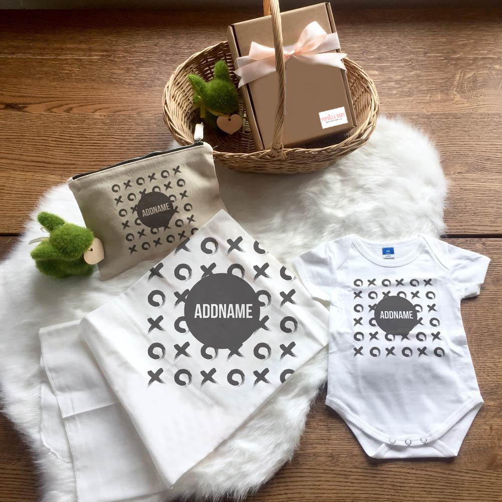 Monochrome Tic Tac Toe Baby Set (+ Zipper Pouch)