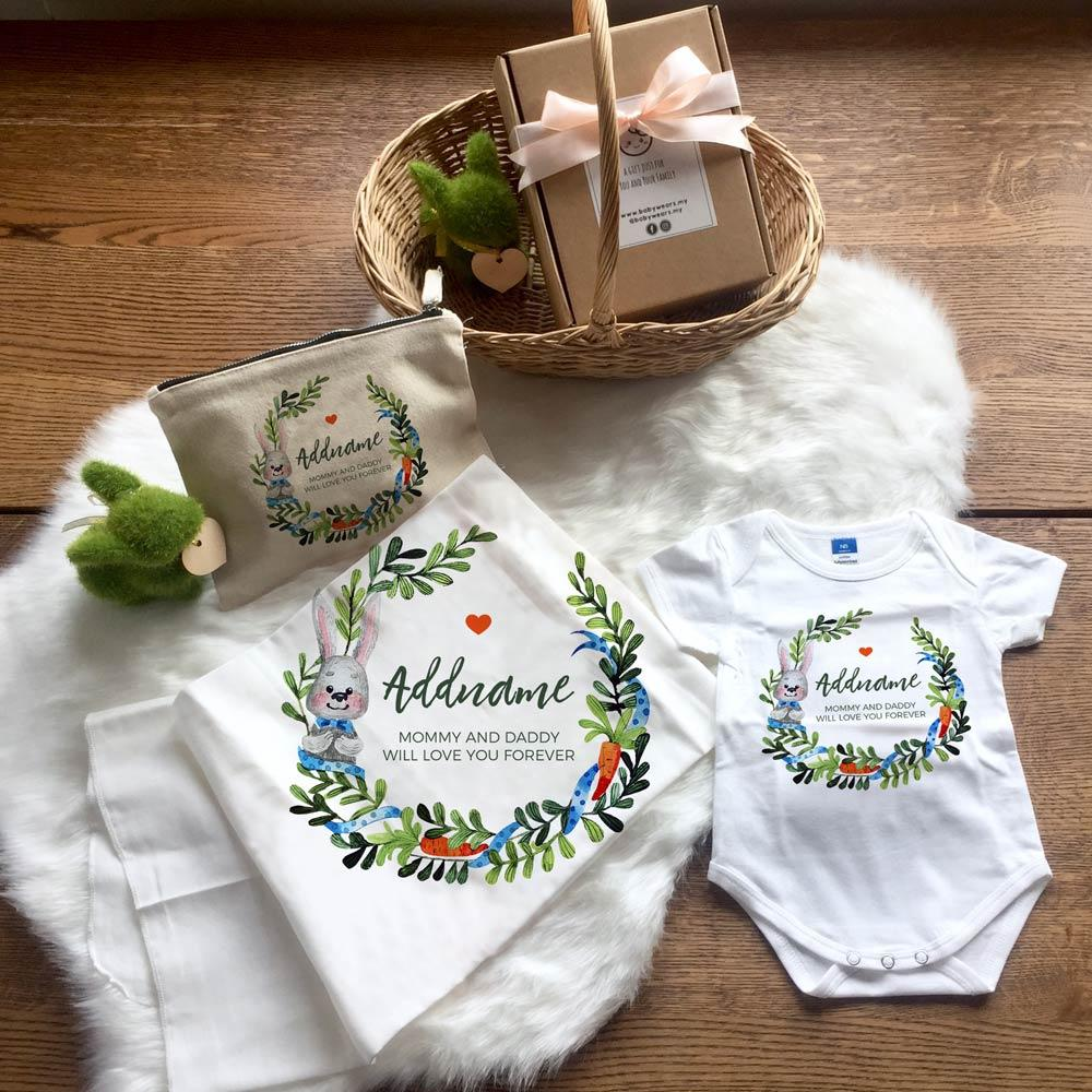 Watercolour Rabbit Wreath Baby Set (+ Zipper Pouch)