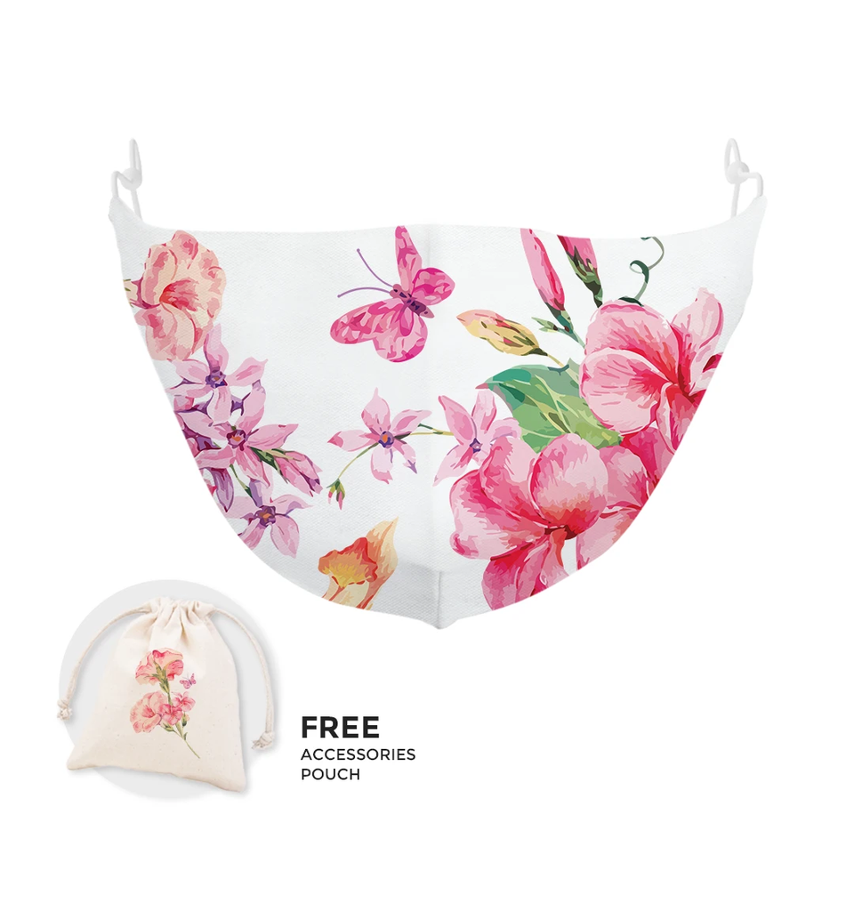 Pink Pastel Floral Cloth Mask with Matching Satchel Bag