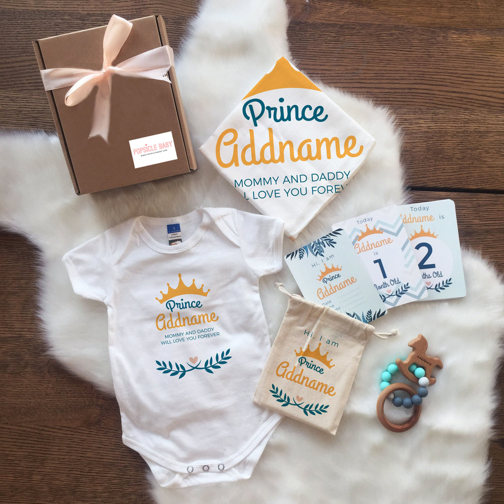 Prince with Crown & Leaves Newborn Set (+ Milestone card, Teether)