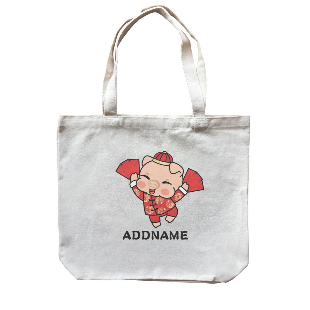 Prosperity Pig Boy with Red Packet Customizable Canvas Bag