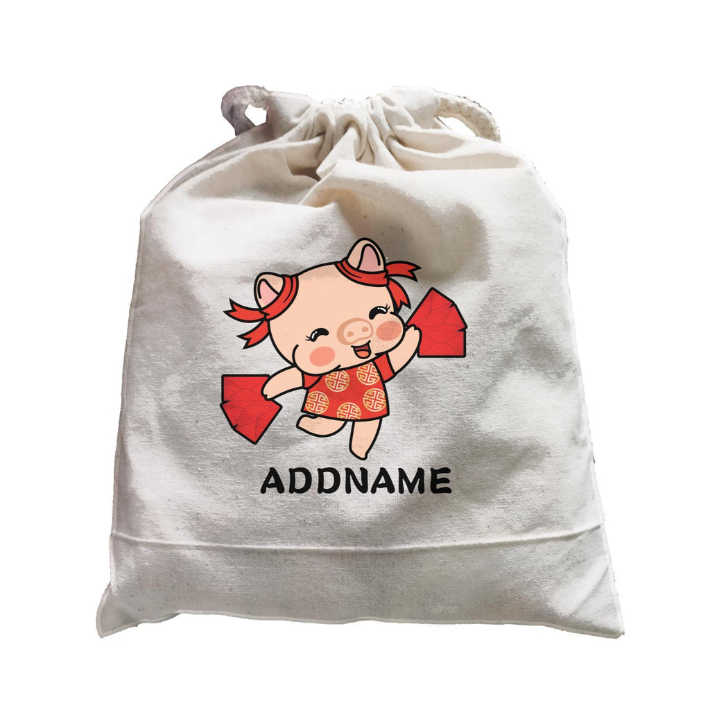 Prosperity CNY Pig Girl with Red Packet Customizable Satchel Bag