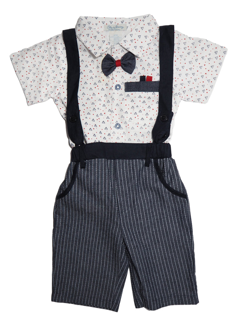Triangle Shirt + Suspenders Set