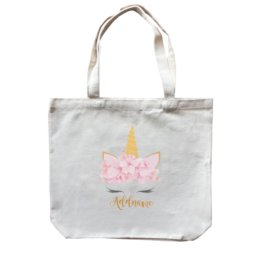 Pink Flower Garland Unicorn Face Canvas Bag