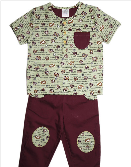 Cotton Shirt and Pants Set - Around the world