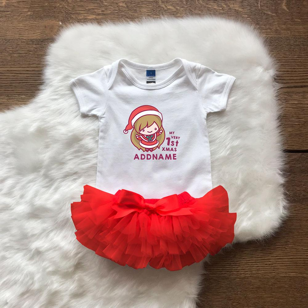 First Christmas Customizable Cute Santarina Romper with Tutu Set