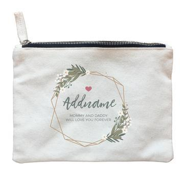 White Flowers and Geometric Frame Zipper Pouch