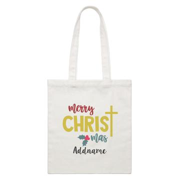 Merry Christmas with Cross Customizable Canvas Bag