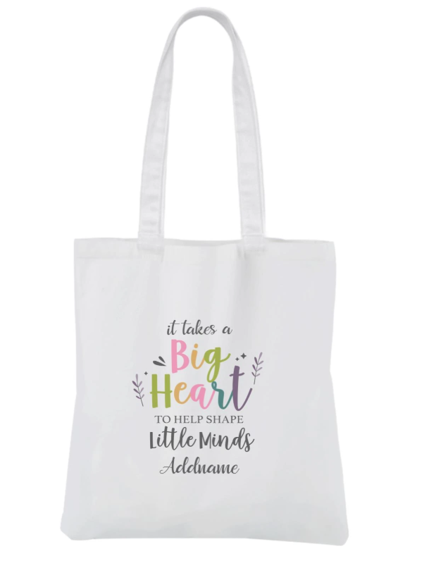 It takes a big heart to shape little minds Customizable Canvas Bag