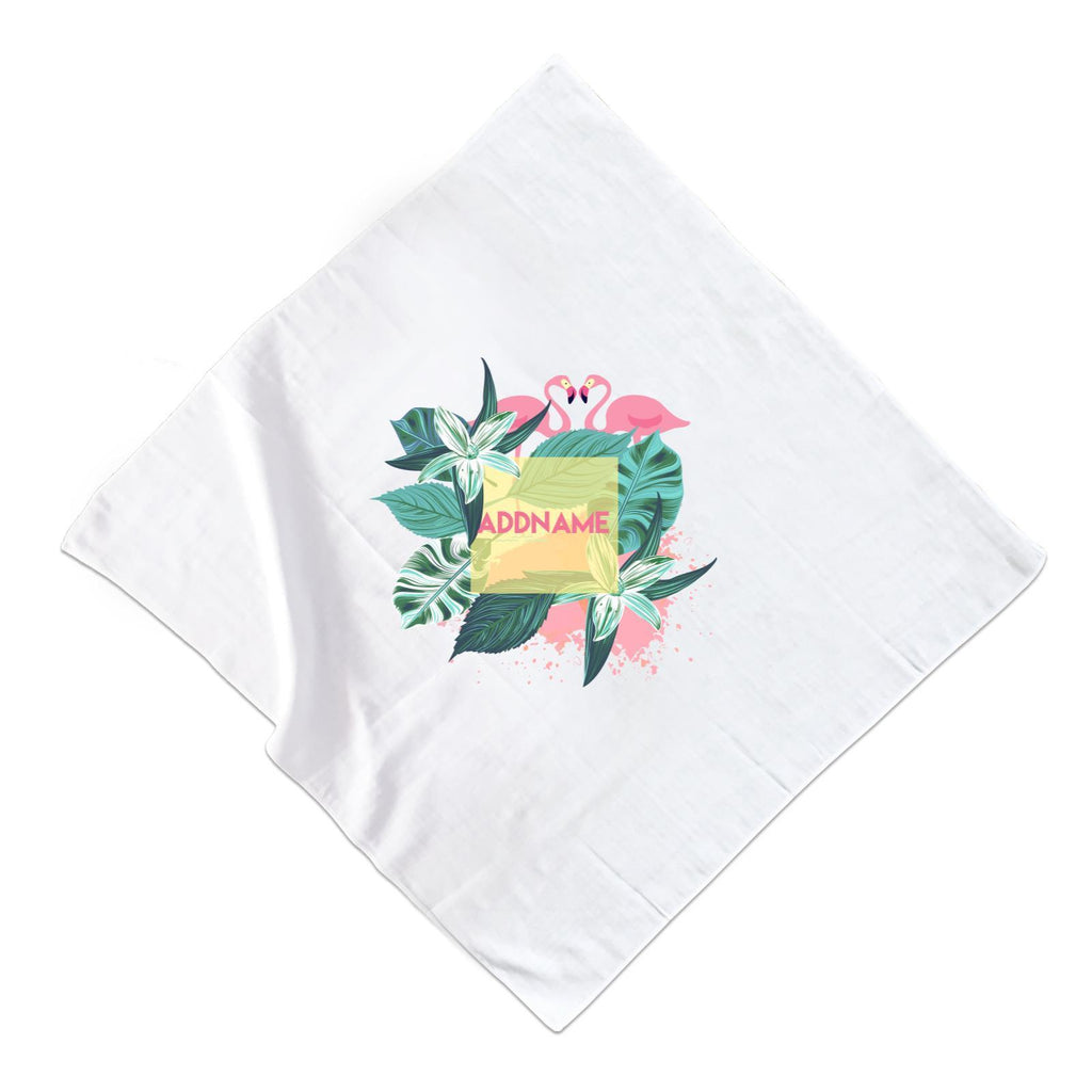 Tropical Leaves with Flamingos Muslin Square