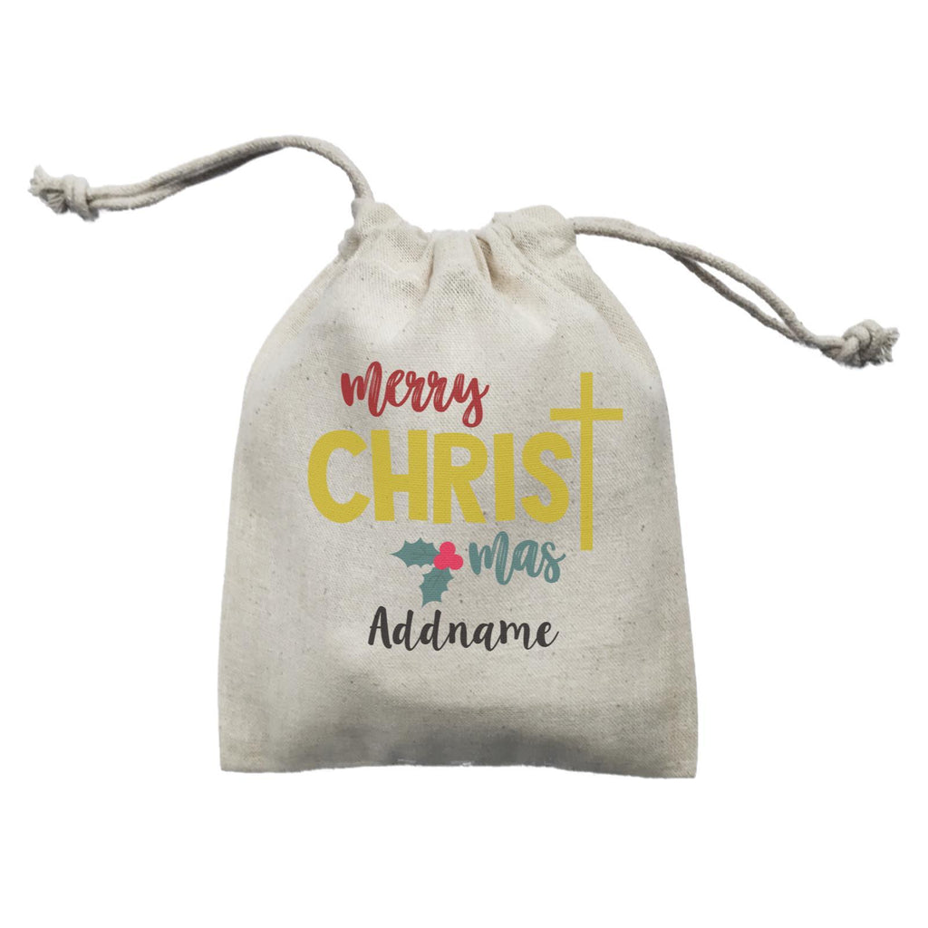Merry Christmas with Cross Customizable Mini Drawstring Satchel