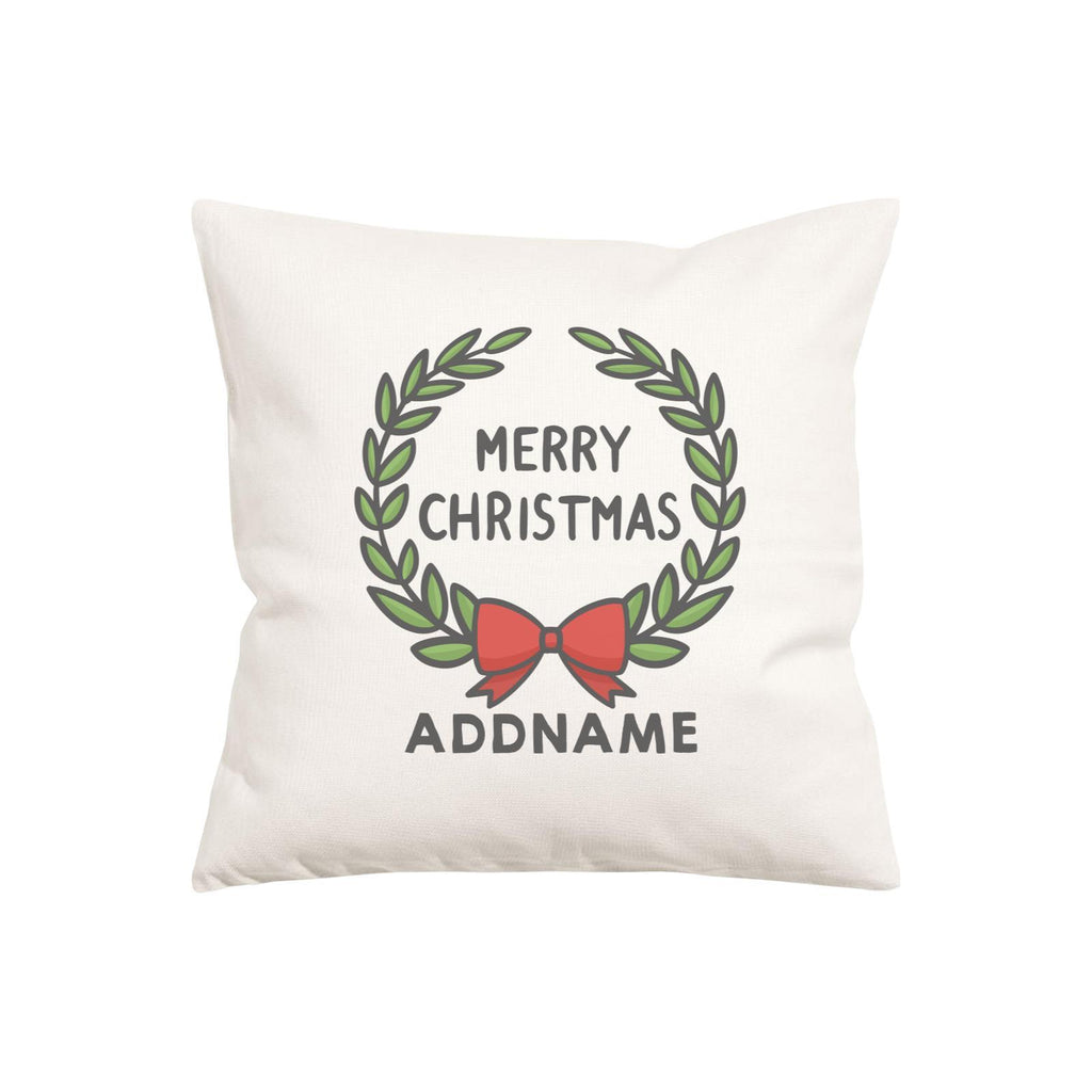 Merry Christmas Wreath Customizable Cushion Cover