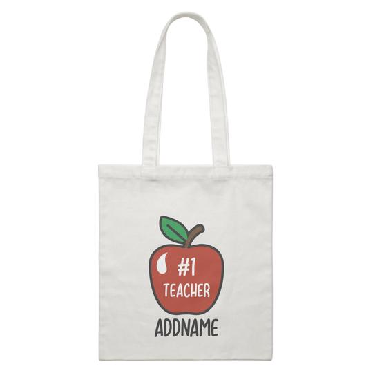 #1 Teacher Apple Customizable Canvas Bag